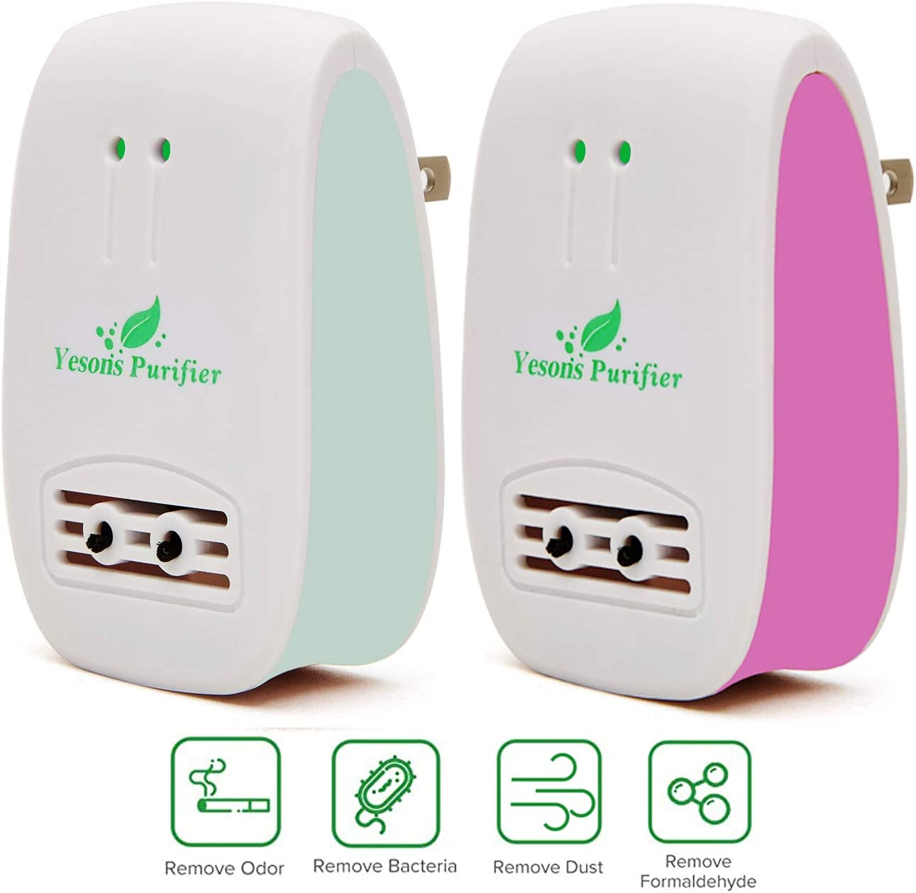 Yesons Air Purifier for Home,Pluggable Mini Smoke Purifier Odor Eliminator to Pet Smell,Dust and Cigarette Smoke for Home & Office, Pink+Green