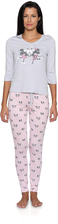 Disney Mickey and Minnie Long Sleeve Long John Women's Pajama Set