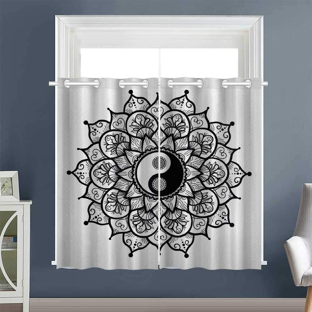 "Linhomedecor Woven Darkening Curtains Retro Floral Art Grommet Microfiber Darkening Curtains Curtains/Panels/Drapes YingYang White Black (1 Pair, 52"" Width x 63"" Length Each Panel)"