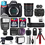 Canon EOS 6D DSLR Camera + Canon EF 24-70mm 2.8L II USM Lens + Canon EF 50mm 1.4 USM Lens + Battery Grip + Shotgun Microphone + LED Kit + 2yr Extended Warranty + 32GB - International Version