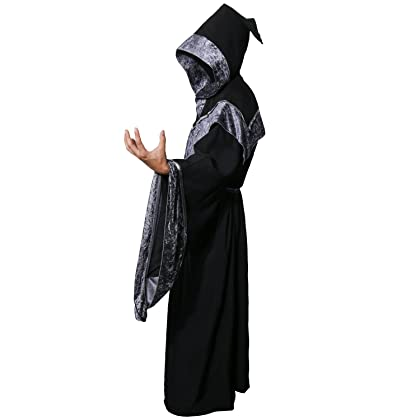 Adult Men's Dark Mystic Sorcerer Robe Halloween Cosplay Costume with Hooded Cape Costumes, Reenactment, Theater Capes, Coats & Cloaks