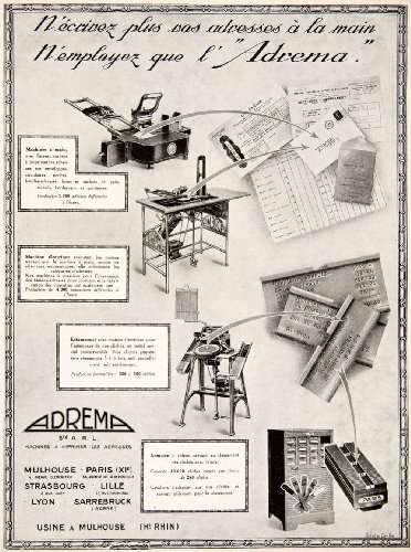 1925 Ad Adrema Addressing Machine 3 Quai Zorn Strasbourg Stamp Labels French - Original Print - Single Strasbourg
