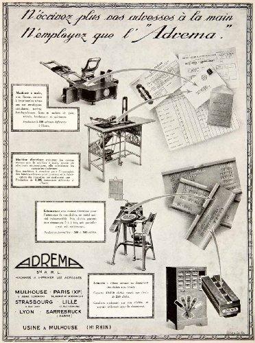 1925 Ad Adrema Addressing Machine 3 Quai Zorn Strasbourg Stamp Labels French - Original Print - Strasbourg Single