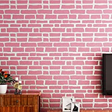 HUANGYAHUI Modern 3D Three-Dimensional Non-Woven Fabric, Brick, Brick, Wallpaper, Living Room, Bedroom, Office, Study, Tv, Wall, Waterproof Wallpaper,Rose Red