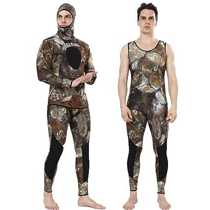 Realon Wetsuit 5mm Full Spearfishing Suit Camo Scuba Diving Suit  Spearfishing Suits Snorkeling Suits Men ( f17cec335
