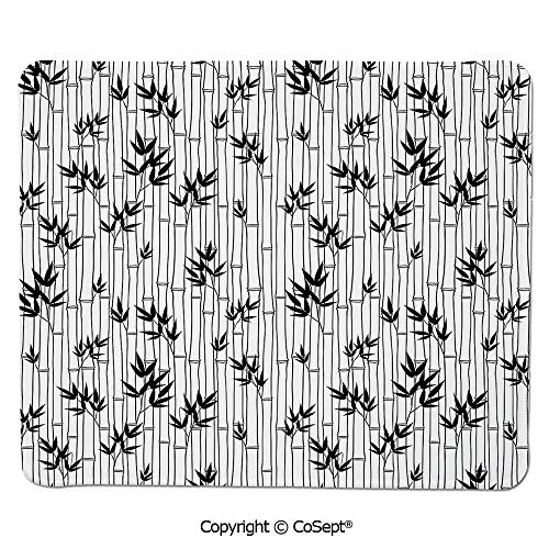 Non-Slip Rubber Base Mousepad,Monochrome Bamboo Pattern with Leaves Asian Foliage Elements Chinese Forest Design Decorative,Dual Use Mouse pad for Office/Home (15.74