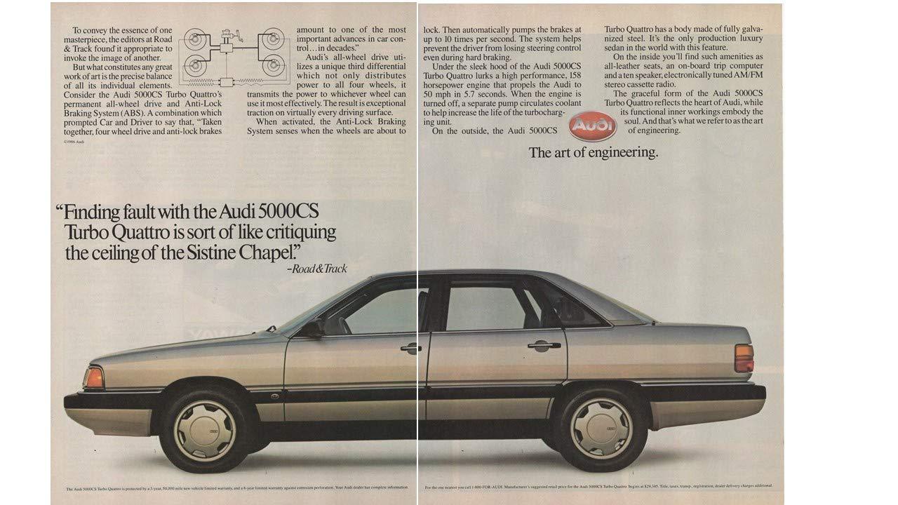 Magazine Print ad: 1986 Audi 5000 Series, 5000CS Turbo