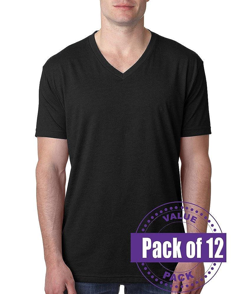 Next Level Mens CVC V-Neck Tee 6240-Black-Large 12 Pack