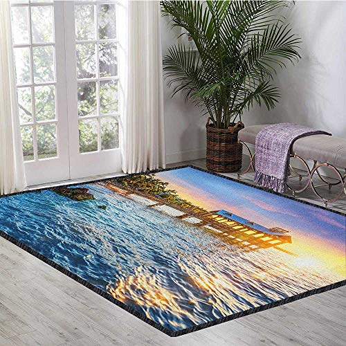 United States Polyester Fiber Area Rugs,Pier at Beach in Key West Florida USA Tropical Summer Paradise for Residential or Commercial Use Pale Blue Yellow Green 55
