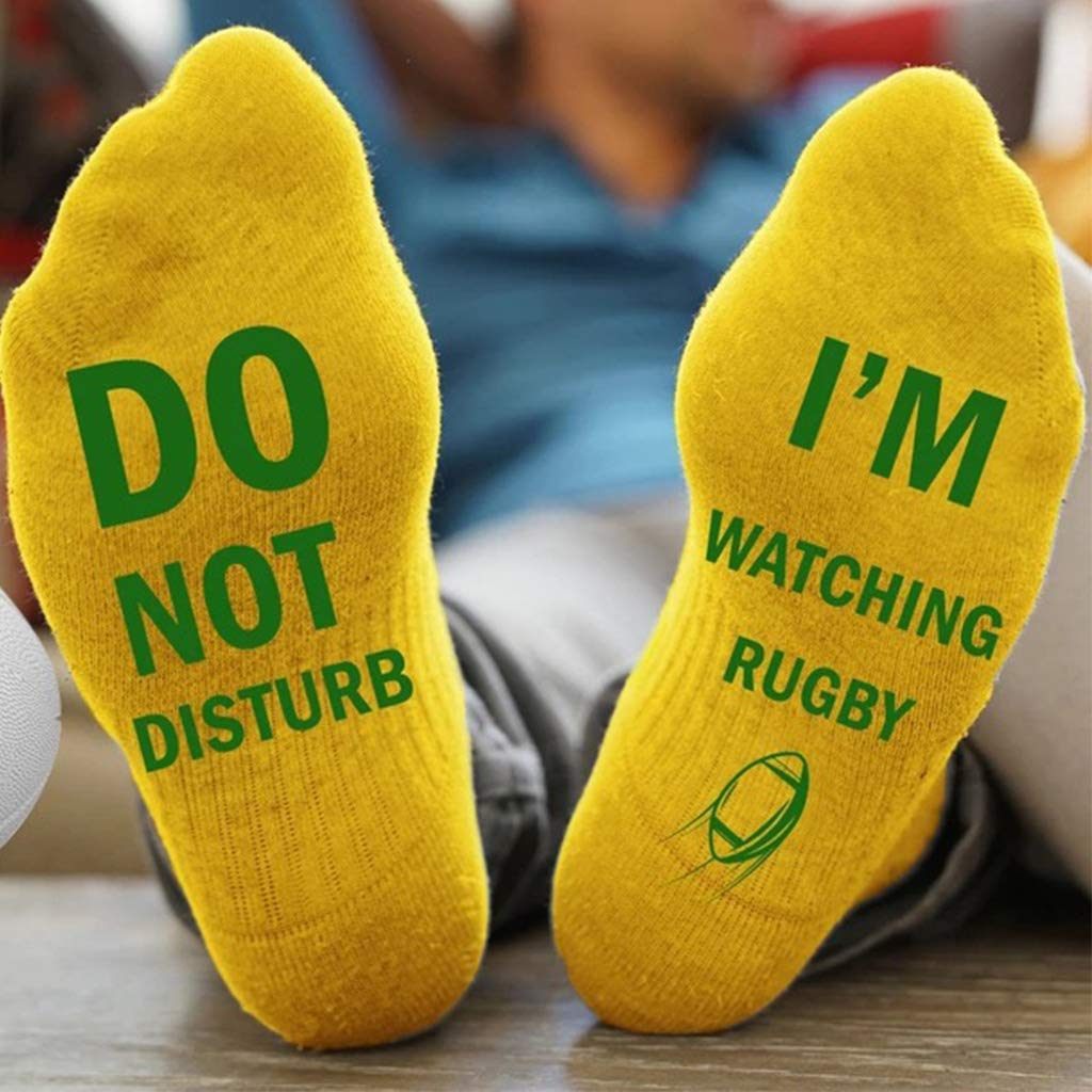 Unisex Novelty Funny Letter Do Not Disturb I Am Wathing Rugby Crazy Cotton Socks
