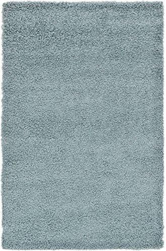 Unique Loom Solo Solid Shag Collection Modern Plush Light Slate Blue Area Rug (5' 0 x 8' 0) ()