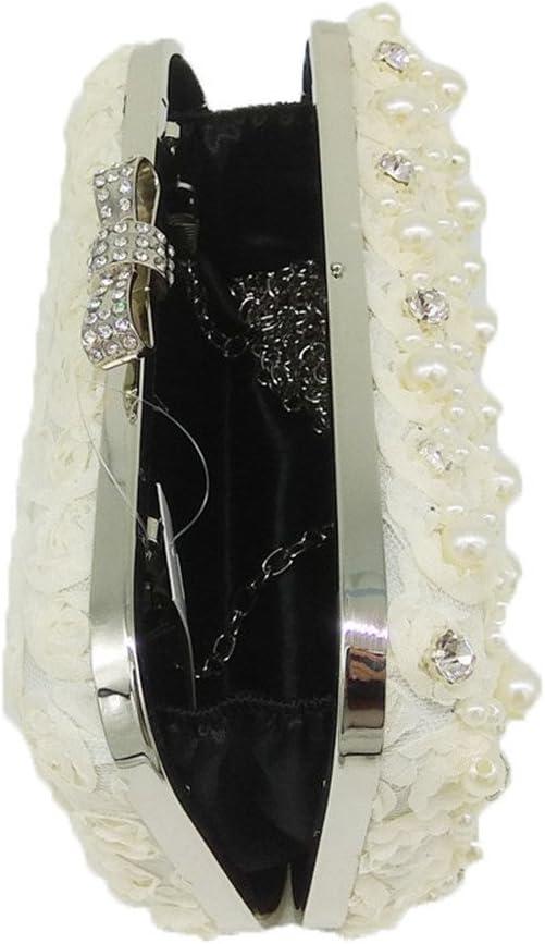EKDJFG Rose Bush Beaded Crystal Women Lace Evening Bags Hard Case Metal Clutches Party Handbag Purse
