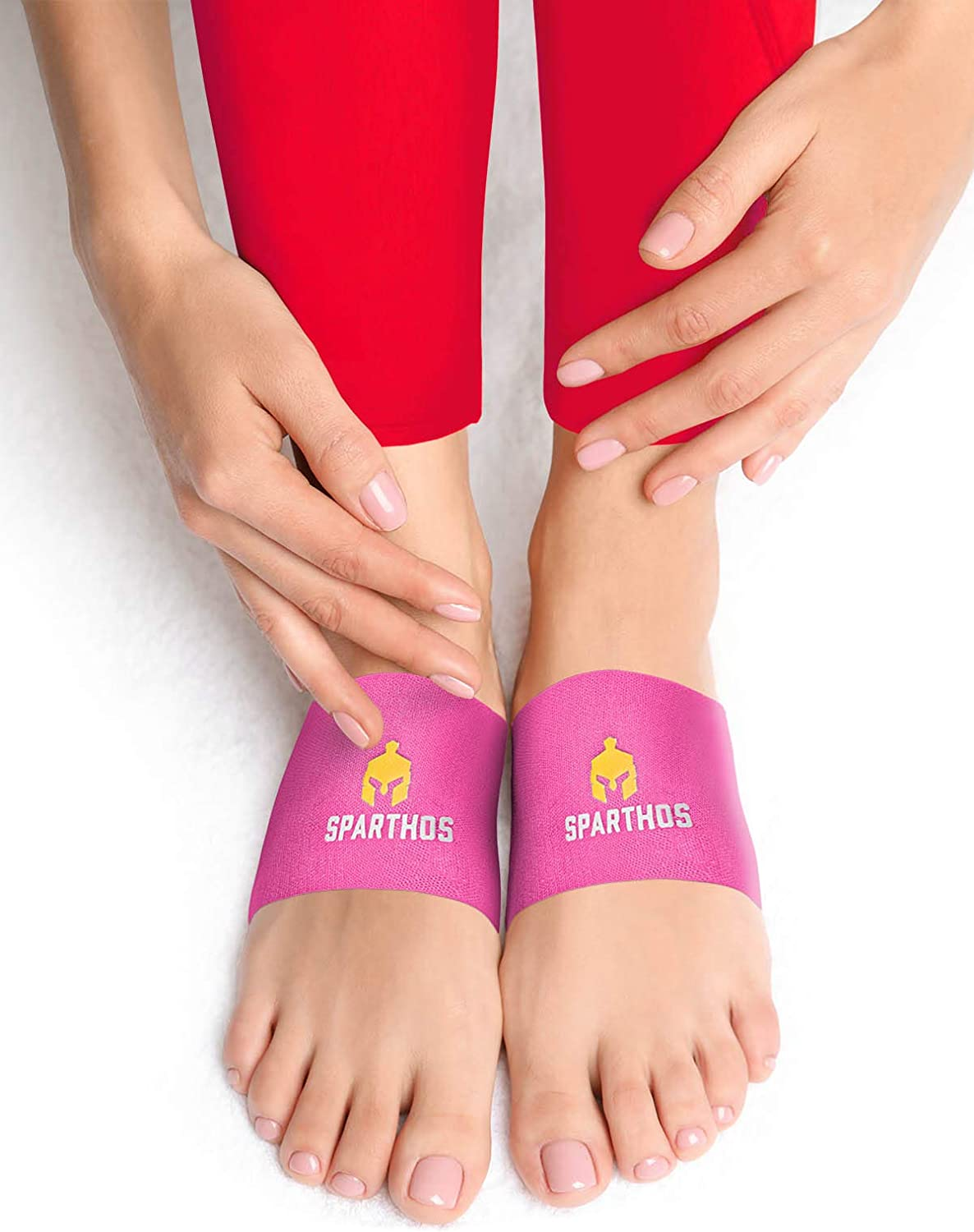 Sparthos Arch Compression Brace - Plantar Fasciitis Support Brace - Foot Feet Brace, Ankle Pain Relief, Night Splint - Shoe Boot Sandals Insert Inserts Insoles - Mens and Womens (Pink-L)
