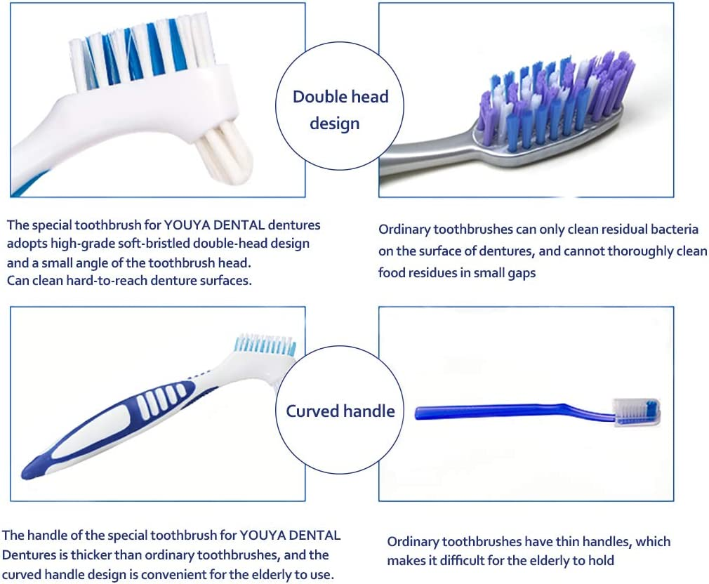 12 Pcs Denture Brush for Denture Care, Denture Brush Dual Head Hygiene Denture Cleaner Rubber Handle Reusable Touch Soft Toothbrush for Denture Wearers: Health & Personal Care
