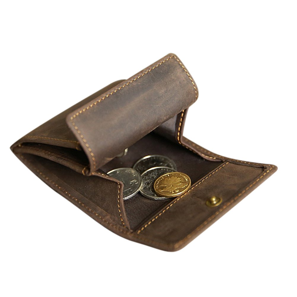 Genuine Leather Coin Purse Mini Cash Wallet Men Women Coin Pouch Tray Money Change Holder Best Holiday Gift for Father Mother Husband Wife or Friends HBZ01-F-US Dark Brown