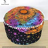 Indian Mandala Tie & Die Psychedical Celestial Horoscope Hippie Bohemian Tapestry Pouf Ottoman Handmade Pouf Cover,Home Decor Chair Cover Bohemian Decor Seating Pouf Mandala Cushion (Cover Only)