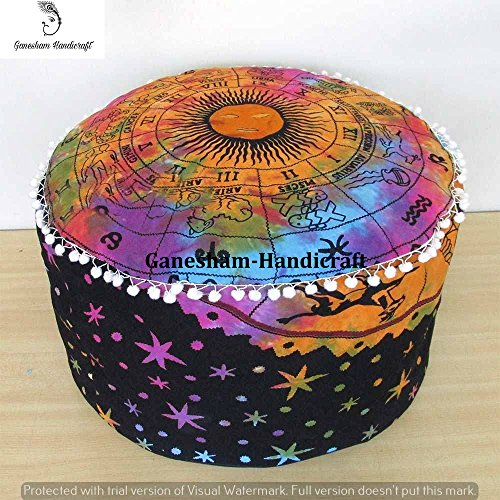 Indian Mandala Tie & Die Psychedical Celestial Horoscope Hippie Bohemian Tapestry Pouf Ottoman Handmade Pouf Cover,Home Decor Chair Cover Bohemian Decor Seating Pouf Mandala Cushion (Cover Only) by GANESHAM