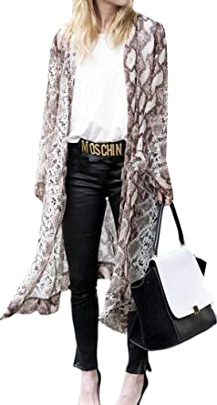 ARTFFEL Women s Summer Plus Size Chiffon Snakeskin Print Long Cardigan Coat  Kimono Blouse Top at Amazon Women s Clothing store  8b2bcc048