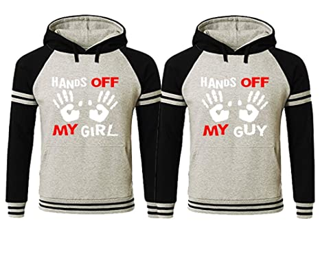 94127910 Hands Off My Girl Hands Off My Guy Couple Hoodies,Matching Two Tone Couple  Hoodies
