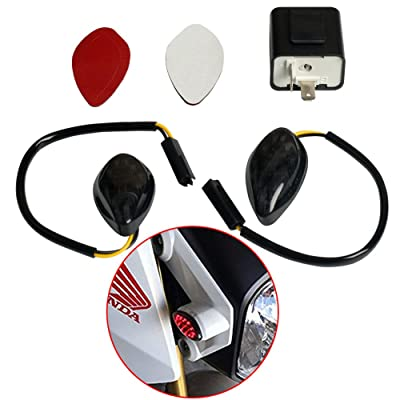 Perfect fit Honda Grom 2014-2020 Red Flush 12 LED Turn Signals & 2 Pin Electronic Adjustable Flasher Relay Unit Pack of 2 (Red & 2 Pin Flasher): Automotive