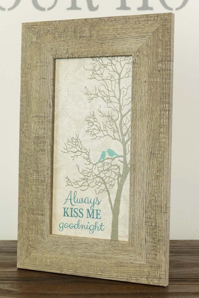 Summer Snow Always Kiss Me Goodnight Blue Bird Tree Barnwood Framed Wood Art Decor 10×16