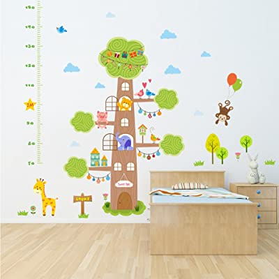 Dragon Honor Children Growth Chart Wall Sticker Cartoon Cute Animals Tree Home Mural Wall Decals: Home & Kitchen