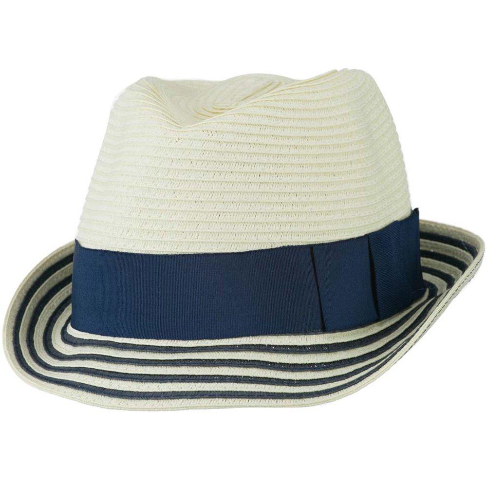 Cream Navy W19S65C Womens Paper Braid Fedora Hat with Striped Brim