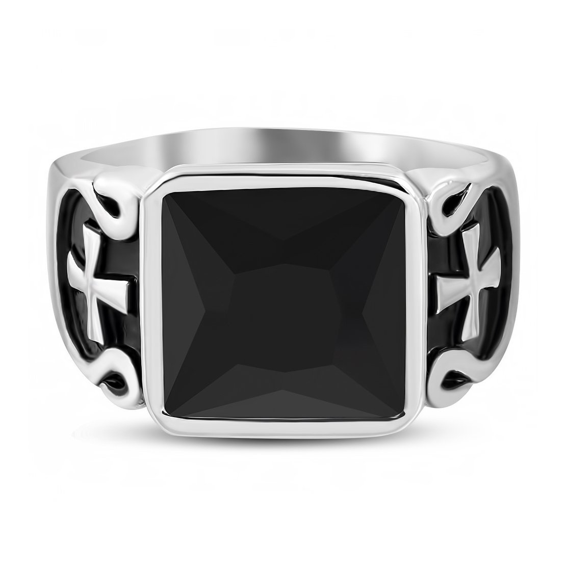 Stainless Steel 2 Color Pattee Cross Shank Bezel-Set Square Biker Ring with Black Glass Stone