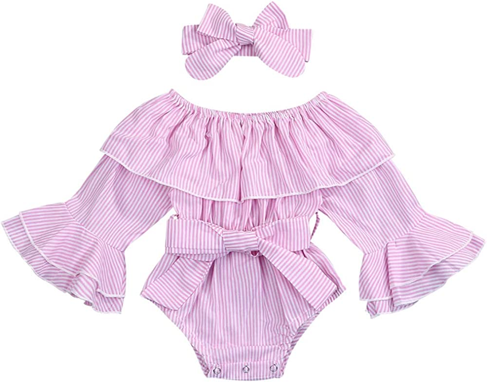Toddler Baby Girls Bow Solid Flare Long Sleeve Jumpsuit Romper Top Blouse Outfit