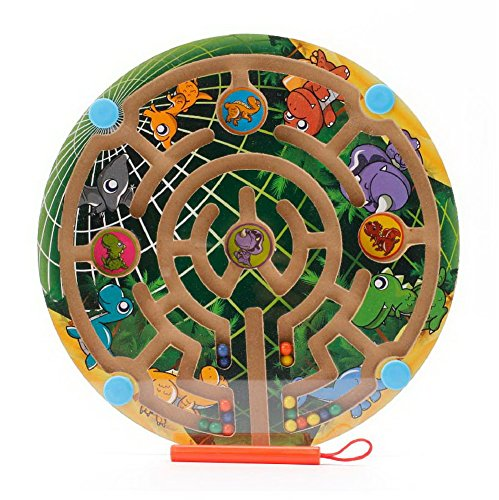 Gentle Meow Wooden Maze Toys Puzzle Magnetic Beads Board Games for Kids, Dinosaur World Maze