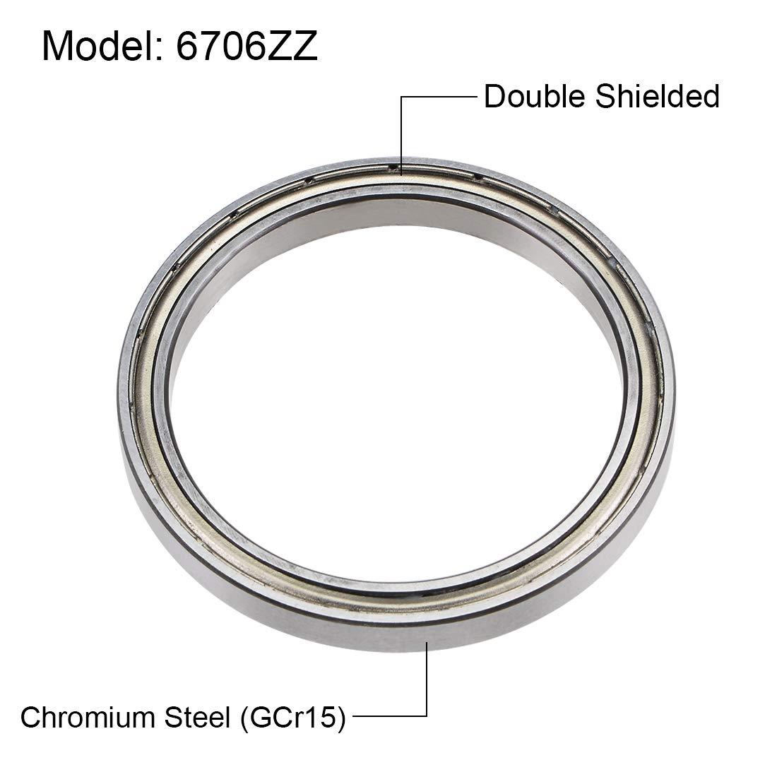 37mm Z2 sourcing map 6706ZZ Rodamientos R/ígidos Bolas 30mm 4mm Doble Protecci/ón Acero Cromado