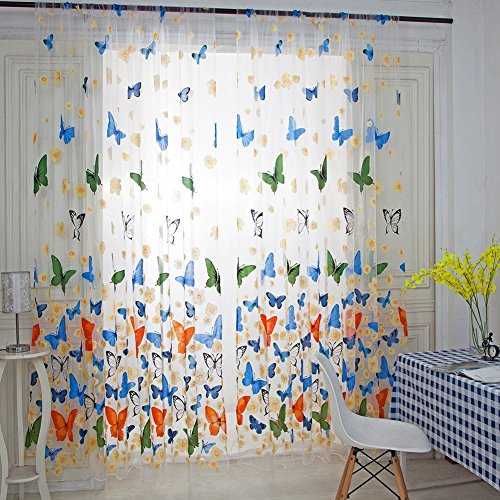 Wingbind Sheer Curtains,Colorful Butterfly Patterned,Tulle Drape Curtains Voile CurtainsCurtain Panel for Home,Living Room,Bedroom,Kids Room,Balcony,Hotel Decoration 100200cm
