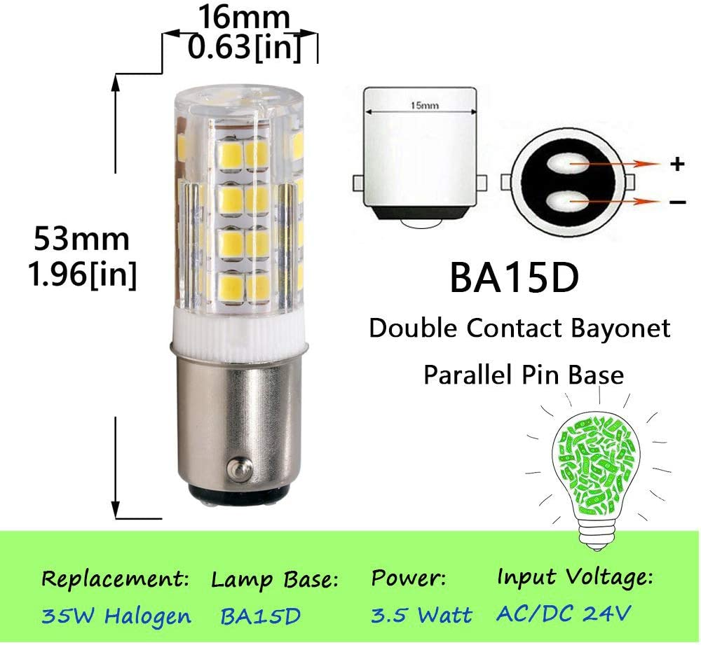 BA15D Double Bayonet Sewing Machine LED Light Bulb 5 Watt Cool White 6000K dimmable 52x2835SMD AC110V-130V Daylight White 6000K Pack of 2
