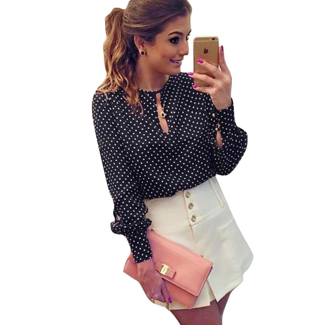 Gillberry Women Casual Long Sleeve Blouses Summer Chiffon Polka Dots Shirt Tops WY5462