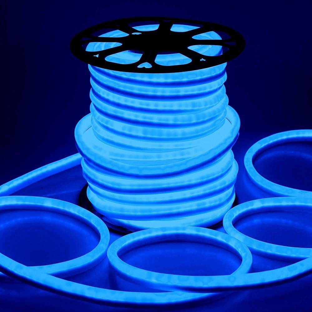 DELight 150ft Flex Blue LED Neon Rope Tube Light 3600 Bulbs w/ UL Listed & CE Certifications for Décor Commercial Home Indoor Outdoor Holiday Valentines Parties Lighting by Generic