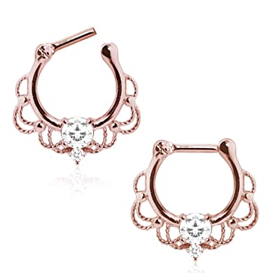 7e9405498 Amazon.com: Royalty Ornate WildKlass Septum Clicker Rose Gold Plated 316L  Stainless Steel (Sold Individually): Jewelry