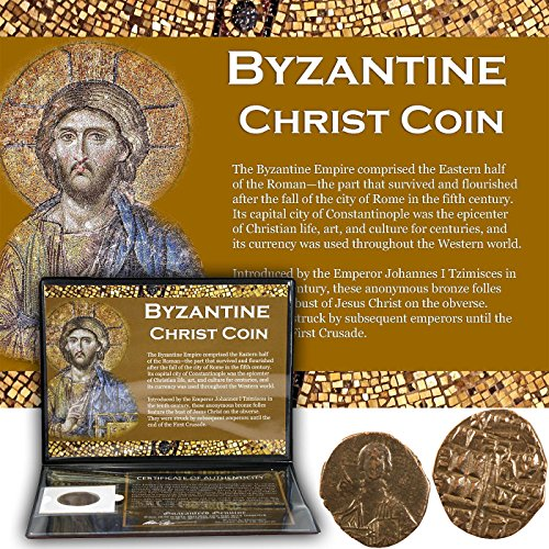 BYZANTINE CHRIST COIN - Authentic Coin from the Middle Ages featuring Anonymous Folles with Jesus' Portrait - Comes in folder with Certificate of Authenticity (The Capital Of The Byzantine Empire Was)