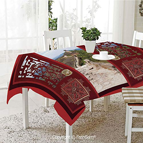 AmaUncle Premium Waterproof Table Cover Gates with Ornament Great Wall of China Famous Historic Structure Kitchen Rectangular Table Cover (W60 ()