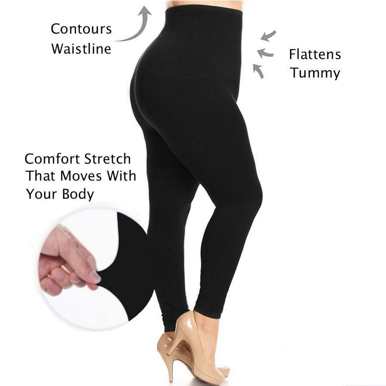 8Layer's No More Muffin Top! High Waisted Compression Tummy Control Leggings- Fleece & Non Fleece (Plus French, Plus Black)