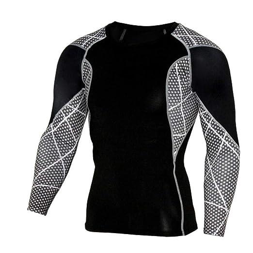 61bac118b Hosamtel Men Long Sleeve Sport T-Shirt Cool Dry Patchwork Print Compression  Athletic Shirt Fitness