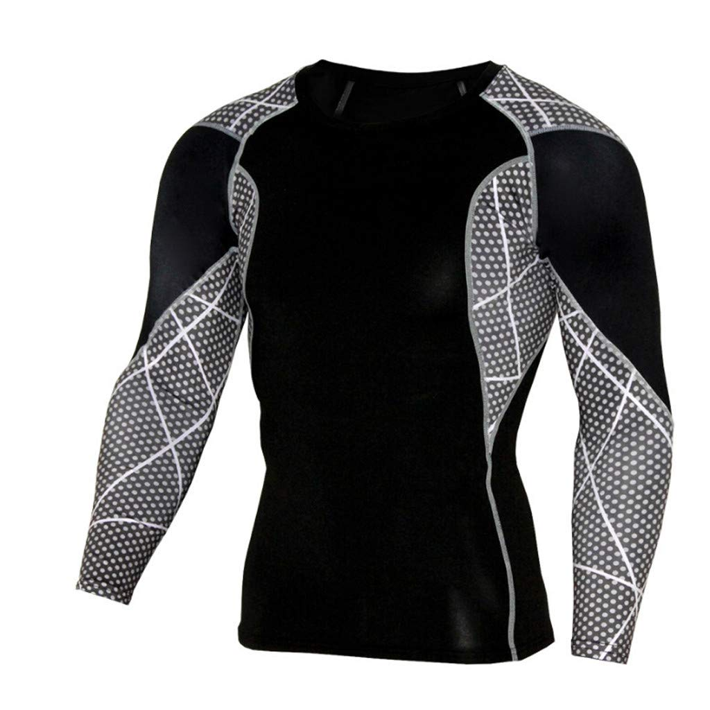 Pervobs Men Workout Fitness Sports Gym Running Yoga Athletic Long Sleeve T-Shirt Top Blouse(US size XL = Tag 3XL, Black)