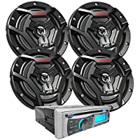 JVC Marine Package - 2 Pairs JVC CS-DR6200M 100W 6.5 2-Way Waterproof Black Coaxial Speakers + Gravity MGR-208BT 300W Single Din Marine Receiver For Boat/Yacht/Outdoor
