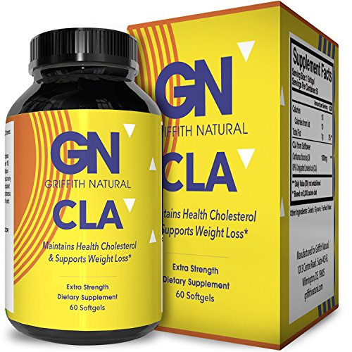 Pure CLA Weight Loss Supplement Safflower Oil - Natural Diet Pills for Men & Women Boost Metabolism Belly Fat Burner - Best 1000 mg CLA Capsules Conjugated Linoleic Acid Complex by Griffith Natural by Griffith Natural