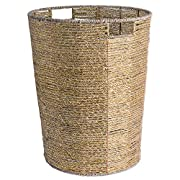 DII Decorative Woven Seagrass Laundry Hamper with Metallic for Bathroom & Home Organization Solutions to Enhance Décor & Add Functionality (Round Hamper - 16x20 ) Gold