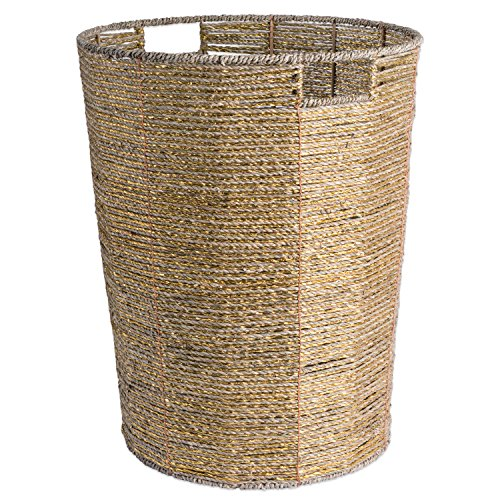 DII Decorative Woven Seagrass Laundry Hamper with Metallic for Bathroom & Home Organization Solutions to Enhance Décor & Add Functionality (Round Hamper - 16x20