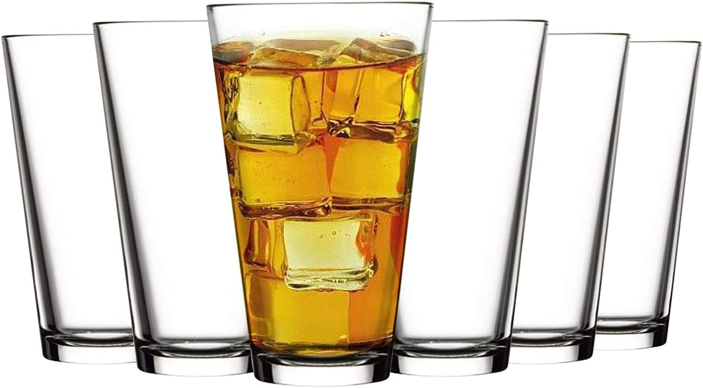 Tebery 6 Pack Beer Pint Glass 16 Ounce Clear Glass Beer Cups Drinking Tumblers for Pub, Home Bar, or Everyday Use