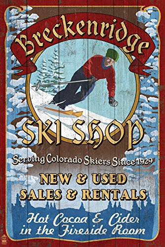 do - Ski Shop Vintage Sign (12x18 Signed Print Master Art Print w/Certificate of Authenticity - Wall Decor Travel Poster) ()