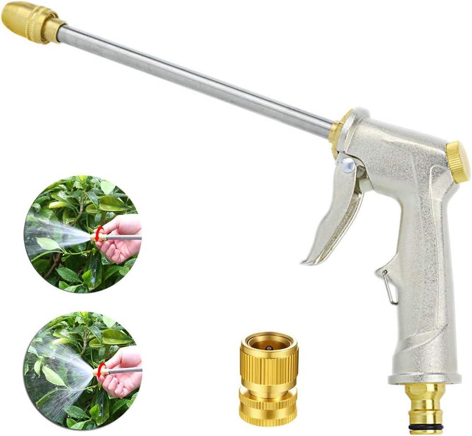 Garden Hose Nozzle, MetalSprayGun, PressureWasherGun, 360° Rotaing Water Adjustmen Power Washer Gun Ideal for Car Washing, Plants Watering, Pets Shower, Cleaning (Long,Silver)