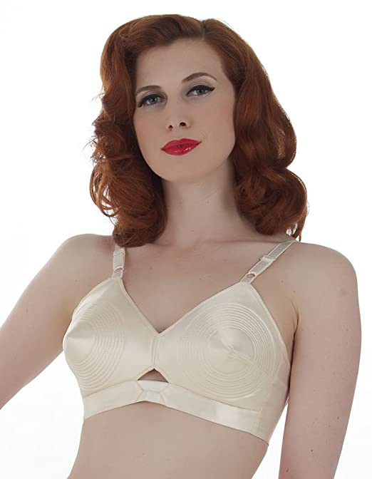 Retro Lingerie, Vintage Lingerie, New 1950s,1960s, 1970s What Katie Did Vintage Peach Satin Padded Bullet Bra L6035 $66.00 AT vintagedancer.com