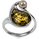 Green Amber Sterling Silver Pearl Ring